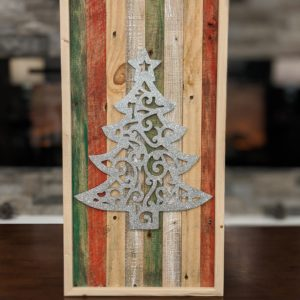 christmas-decor-pallet-tree-silver-sparkle-pine-wall-art-red-white-green